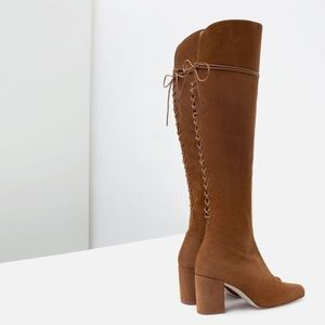 Zara Tan Suede Over The Knee Boots w/ laces